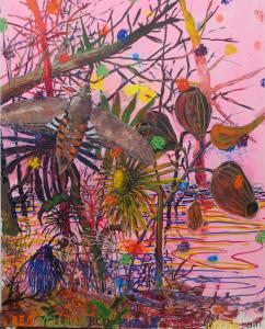 Leslie Bostrom RYBPOG Rain, 2013. Acrylic and oil on canvas.